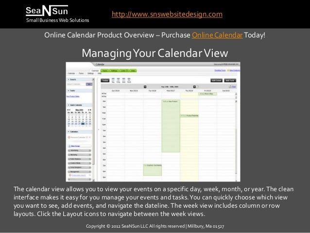 http://www.snswebsitedesign.com    Small Business Web Solutions            Online Calendar Product Overview – Purchase Onl...