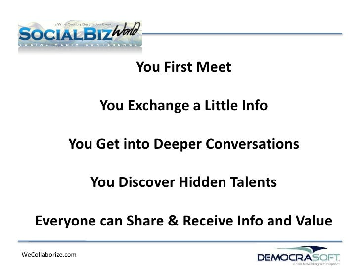 You First Meet                     You Exchange a Little Info              You Get into Deeper Conversations              ...