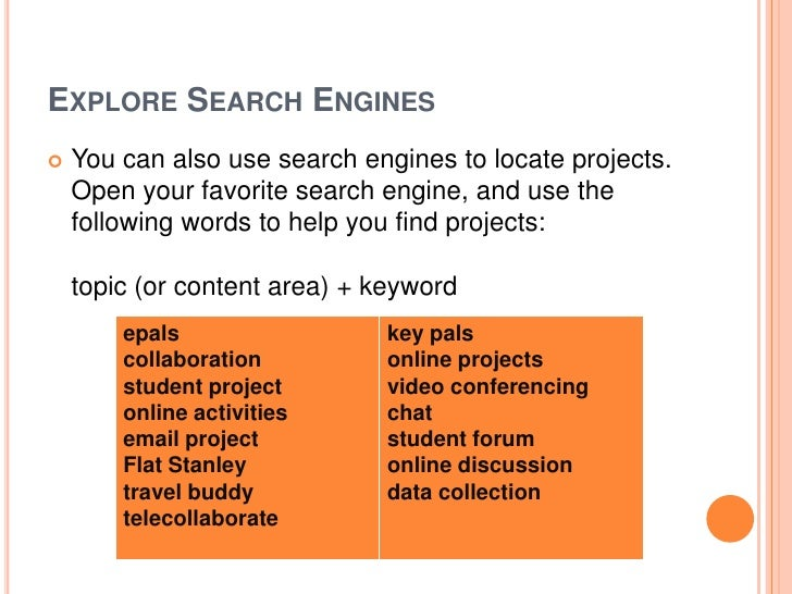 EXPLORE SEARCH ENGINES   You can also use search engines to locate projects.    Open your favorite search engine, and use...