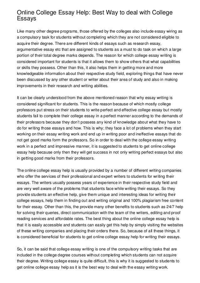 Help written essay for college best