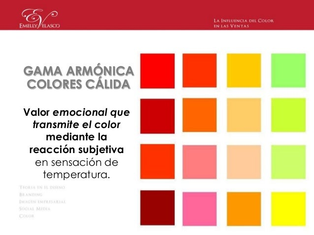 La influencia del color en las ventas emelly velasco - Gama de colores calidos ...