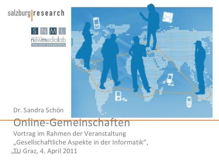 """Dr. Sandra Schön Online-Gemeinschaften Vortrag im Rahmen der Veranstaltung  """"Gesellschaftliche Aspekte in der Informatik"""",..."""