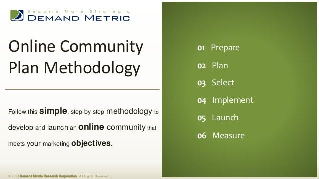 Online Community Plan Methodology © 2013 Demand Metric Research Corporation. All Rights Reserved. Follow this simple, step...