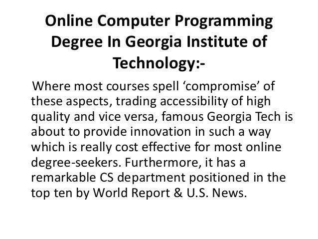 online computer programming degree  world famous universities
