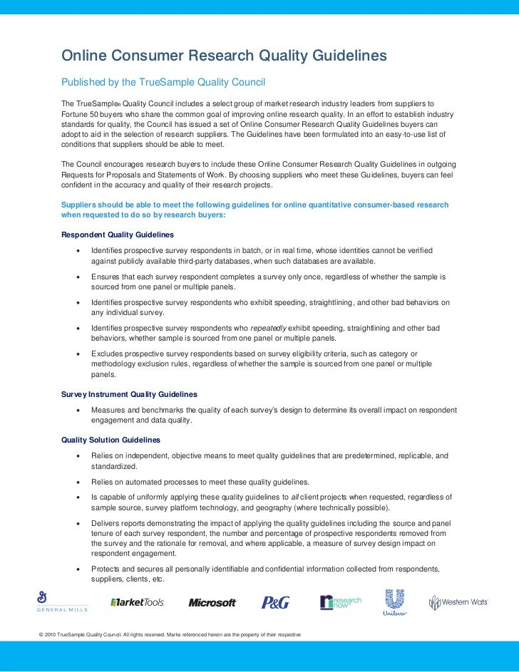 Online Consumer Research Quality Guidelines         Published by the TrueSample Quality Council         The TrueSample® Qu...