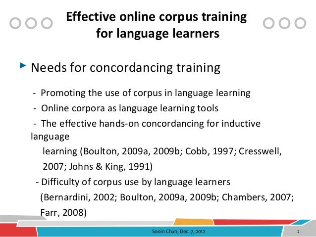 Effective online corpus training vfor language learners