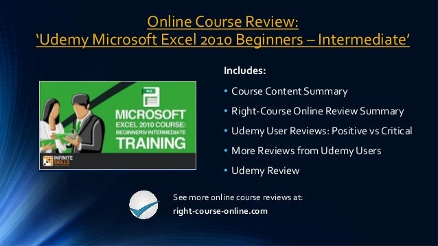 Online Course Review: Udemy Microsoft Excel 2010 Beginners