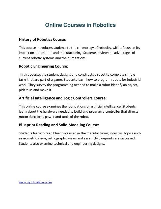 Online Courses In Robotics