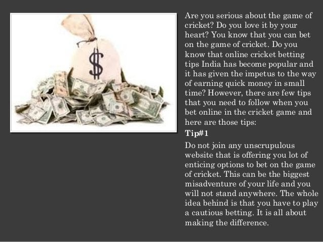 Are you serious about the game of  cricket? Do you love it by your  heart? You know that you can bet  on the game of crick...