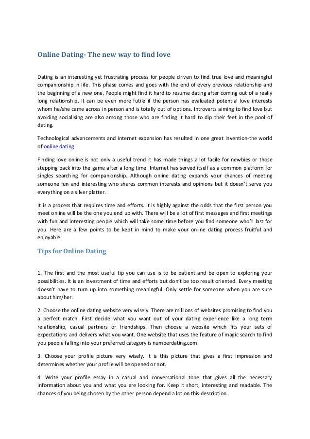 Essay online dating Matchmaking-Dienst Alert 360