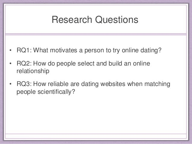 Research questions about online dating