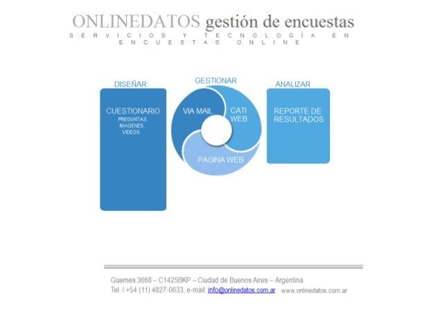 Gestión de encuestas ONLINEDATOS es un sistema de gestión de encuestas a través de internet . Permite diseñar cuestionario...
