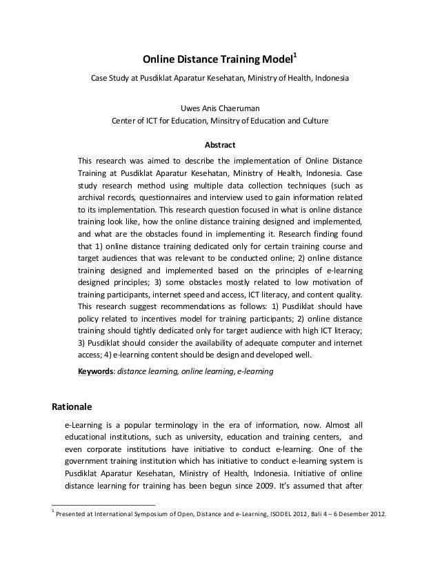 Online  Distance  Training  Model1    Case  Study  at  Pusdiklat  Aparatur  Kesehatan,  Ministry  of...