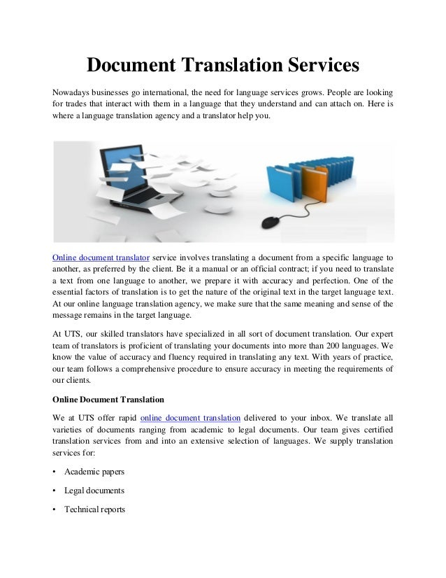 Online document translator