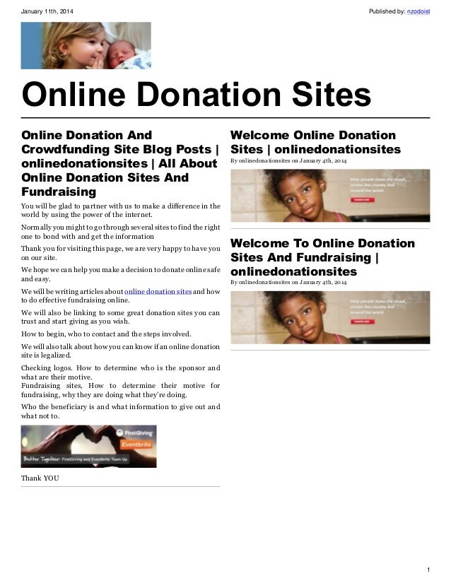 January 11th, 2014  Published by: nzodoist  Online Donation Sites Online Donation And Crowdfunding Site Blog Posts | onlin...