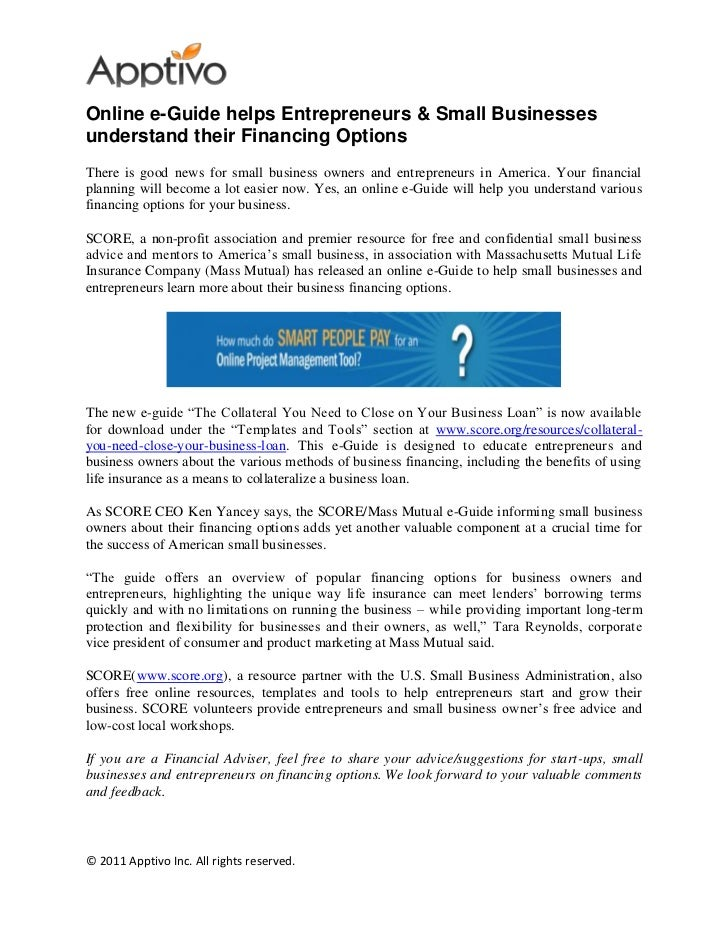 Online e-Guide helps Entrepreneurs & Small Businessesunderstand their Financing OptionsThere is good news for small busine...