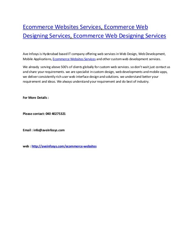 Ecommerce Websites Services, Ecommerce Web Designing Services, Ecommerce Web Designing Services Ave Infosys is Hyderabad b...