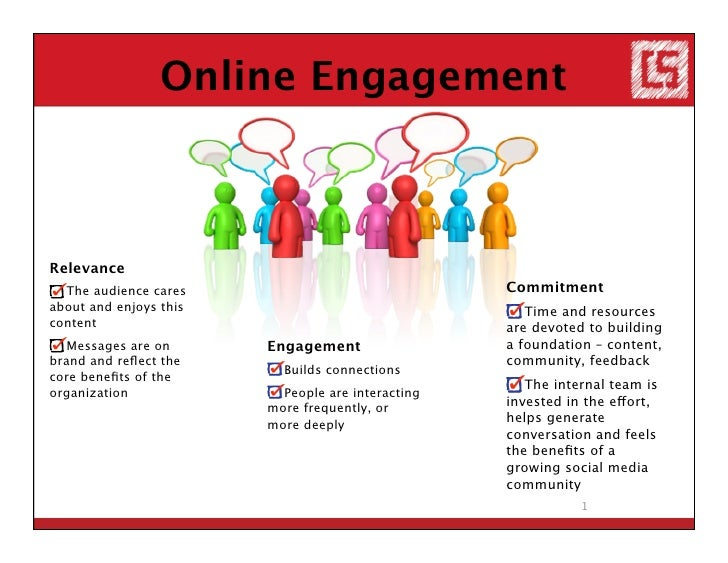 Online Engagement    Relevance   The audience cares                               Commitment about and enjoys this        ...
