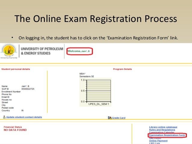 Online examination registration process for CCE students
