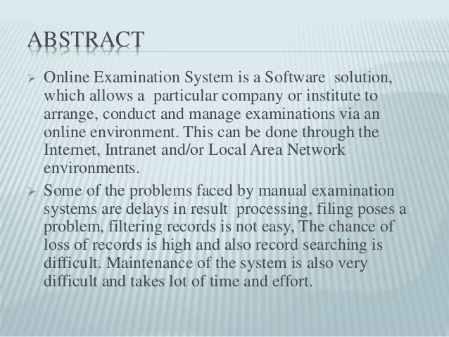 online examination system abstract