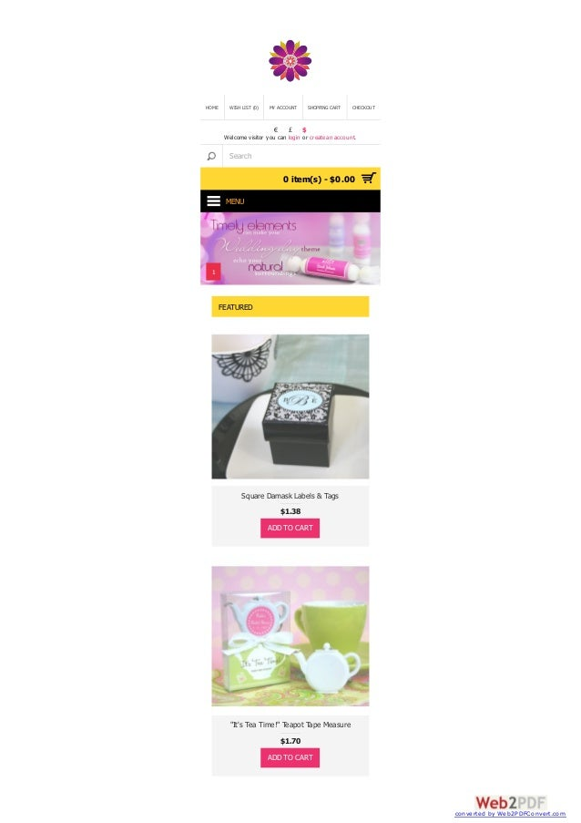 HOME  WISH LIST (0)  MY ACCOUNT  €  £  SHOPPING CART  CHECKOUT  $  Welcome visitor you can login or create an account.  Se...