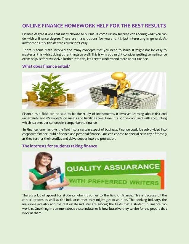 Free finance homework helper