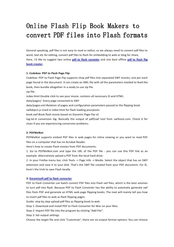 online flash flip book makers to convert pdf files into flash formats