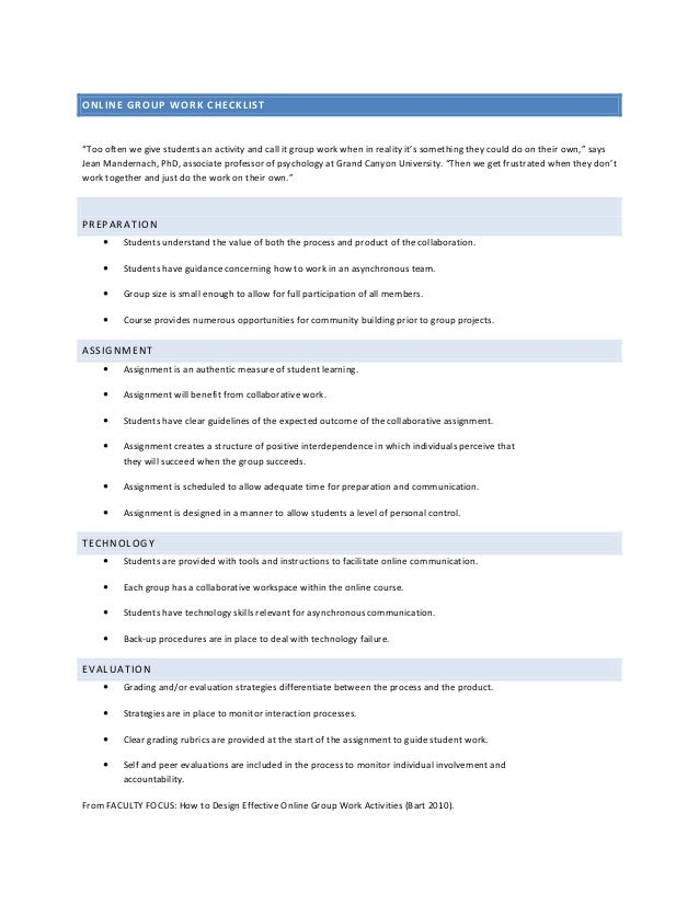 """ONLINE GROUP WORK CHECKLIST""""Too often we give students an activity and call it group work when in reality it's something t..."""