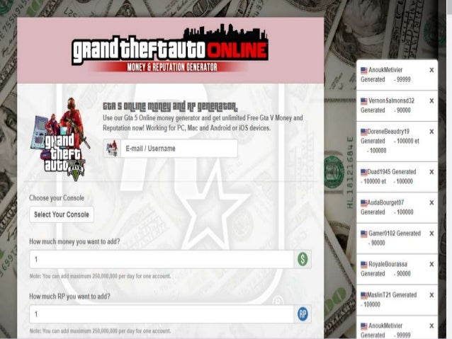 Online gta 5 money hack and generato