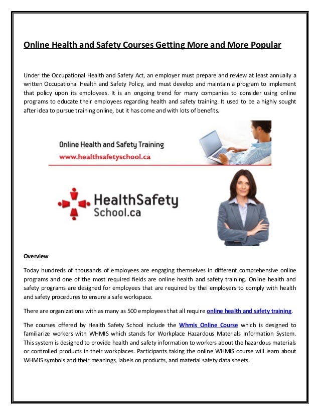 health and safety coursework Croner offers a wide range of specialist h&s training courses to suit your business talk to us about your training needs and develop the perfect programme.