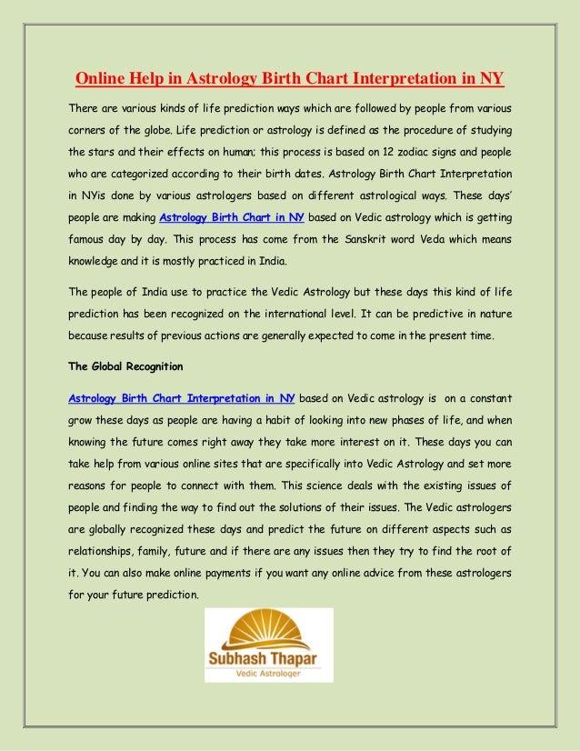 Online Help In Astrology Birth Chart Interpretation In Ny