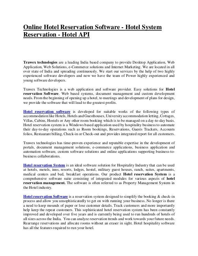 Online hotel reservation software - Hotel system reservation