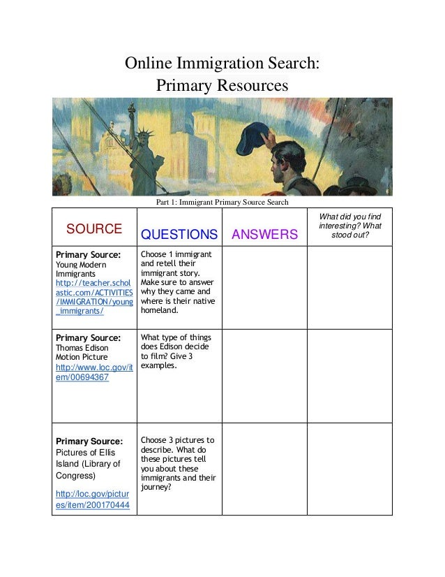 Online Immigration Search: Primary Resources  Part 1: Immigrant Primary Source Search  SOURCE Primary Source: Young Modern...