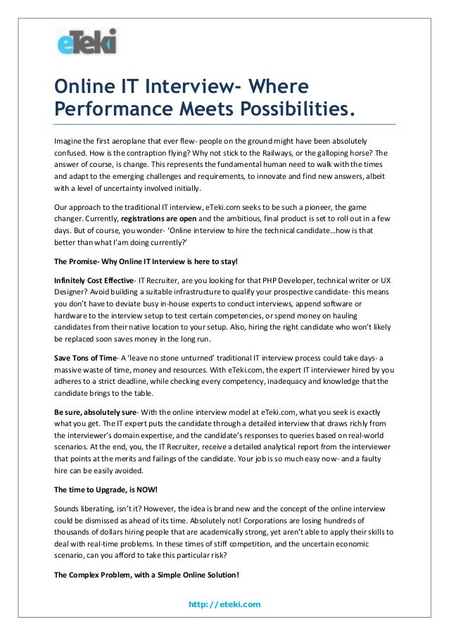 Online IT Interview- Where Performance Meets Possibilities. Imagine the first aeroplane that ever flew- people on the grou...