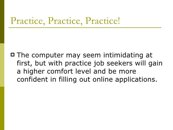 Online Job Application Workshop