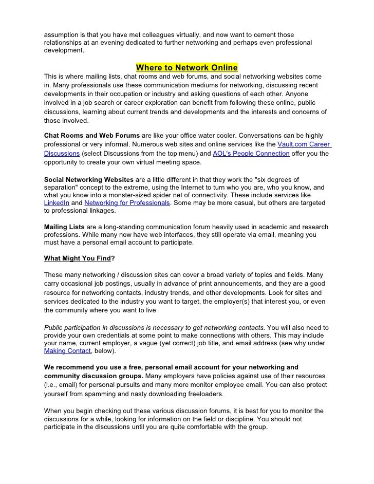 Online job boards, networking, and social sites
