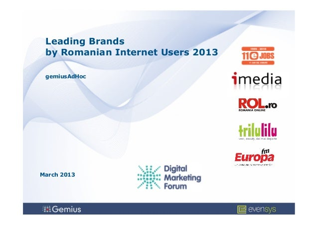 Leading Brands by Romanian Internet Users 2013 gemiusAdHocMarch 2013