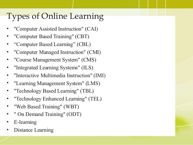 Online Learning Topic Presentation