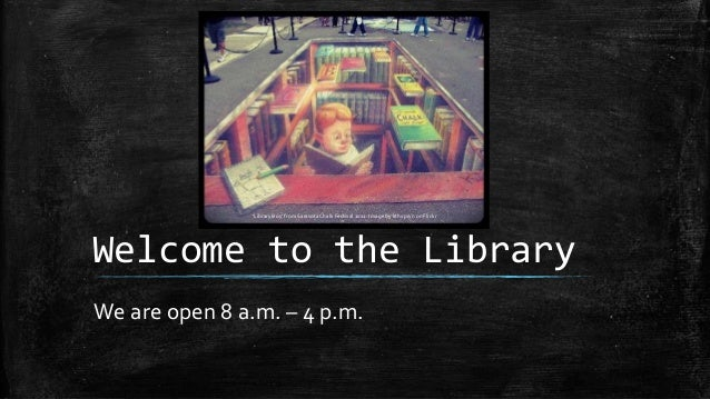 Welcome to the Library We are open 8 a.m. – 4 p.m. 'Library Boy' from Sarasota Chalk Festival 2011. Image by kthypryn on F...