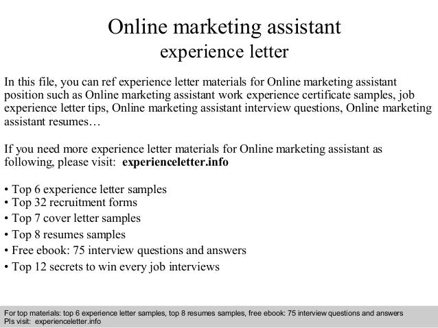 Online marketing assistant experience letter
