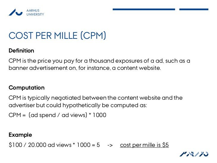 AARHUS       UNIVERSITYCOST PER MILLE (CPM)DefinitionCPM is the price you pay for a thousand exposures of a ad, such as ab...