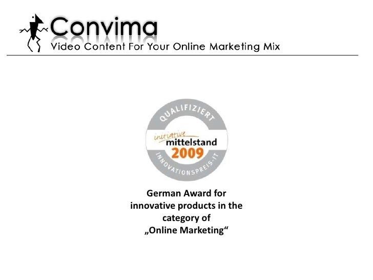 "German Award for innovative products in the category of <br />""Online Marketing"" <br />"
