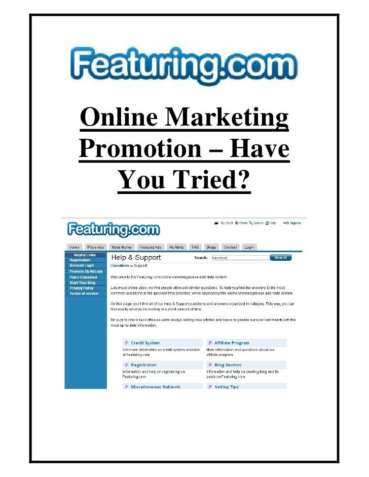 Online Marketing Promotion – Have    You Tried?