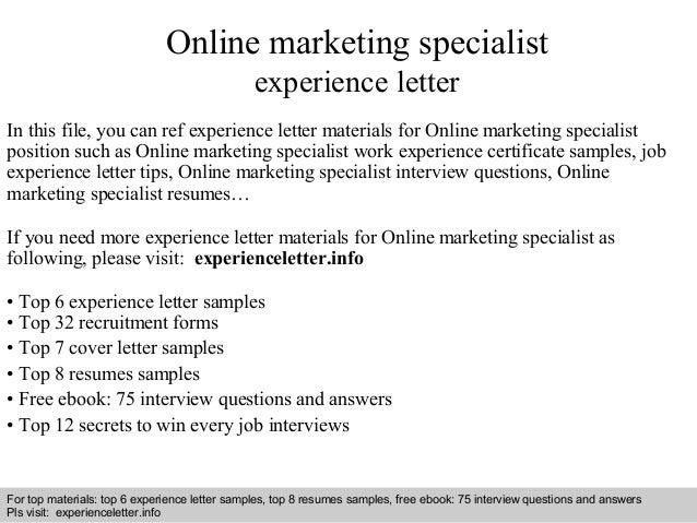 Online marketing specialist experience letter
