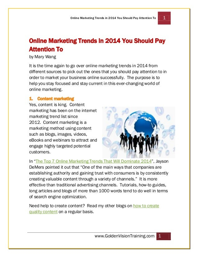Online Marketing Trends in 2014 You Should Pay Attention To  1  Online Marketing Trends in 2014 You Should Pay Attention T...
