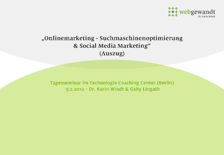 Onlinemarketing webgewandt - Dr. Karin Windt - TCC Berlin