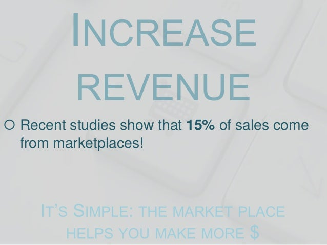  Recent studies show that 15% of sales come from marketplaces!