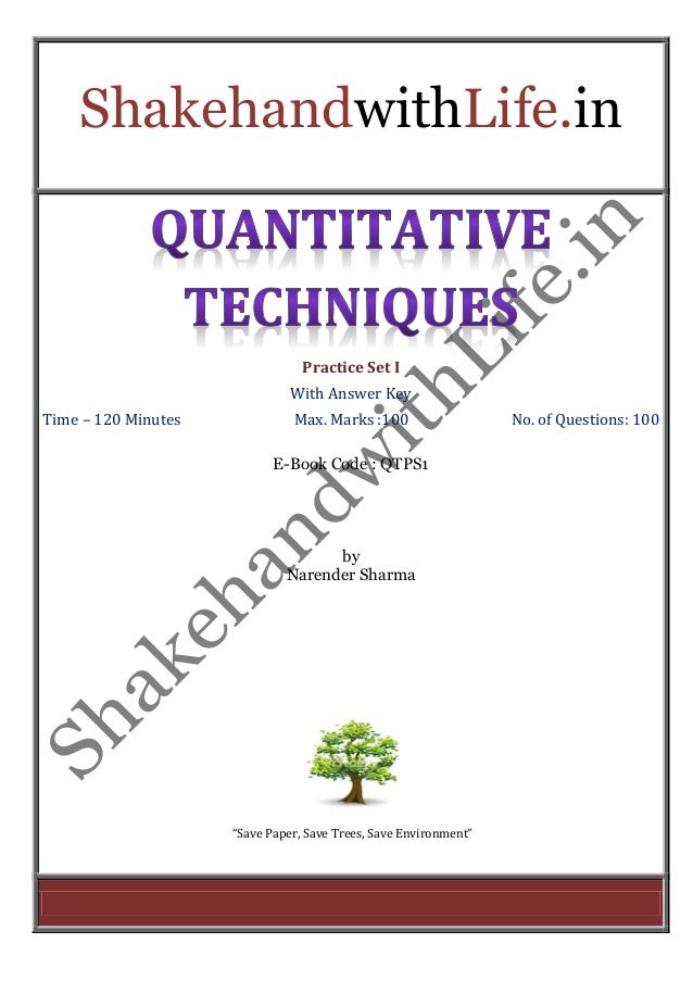 ShakehandwithLife.in  Practice Set I  With Answer Key  Time – 120 Minutes Max. Marks :100 No. of Questions: 100  E-Book Co...