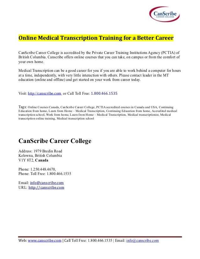 Online Medical Transcription Training Canscribe