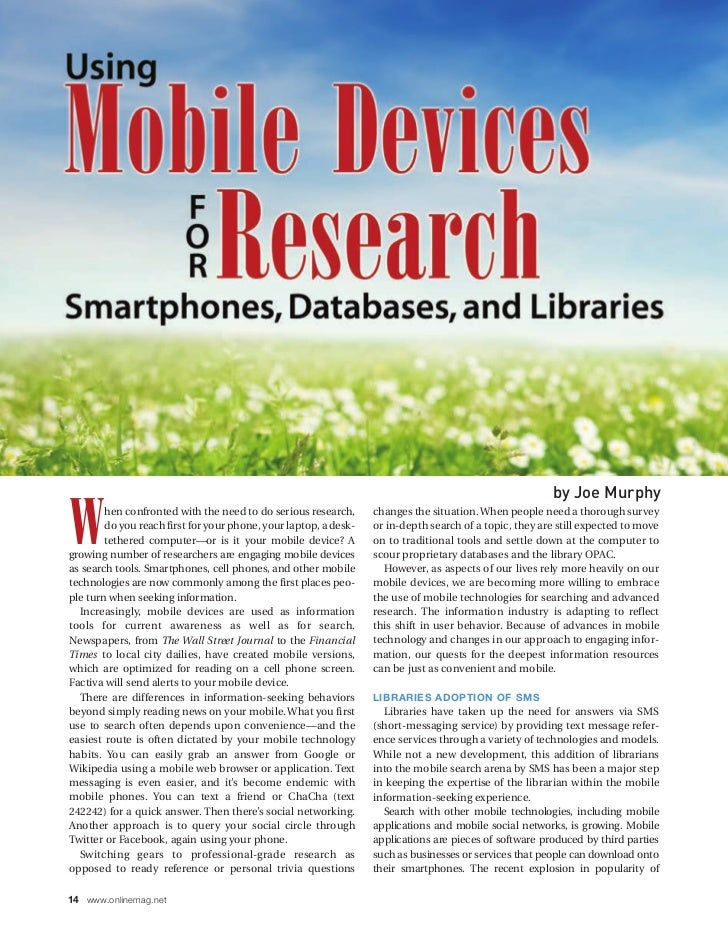 Mobile devices for research